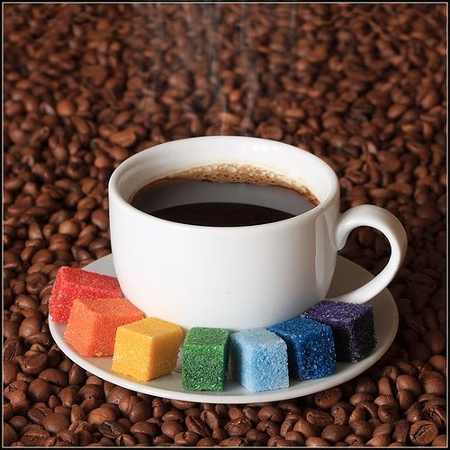 cayootteee(;, coffee, coffee beans, color, colorful sugar cubes, photography, photoshop, rainbow, sugar