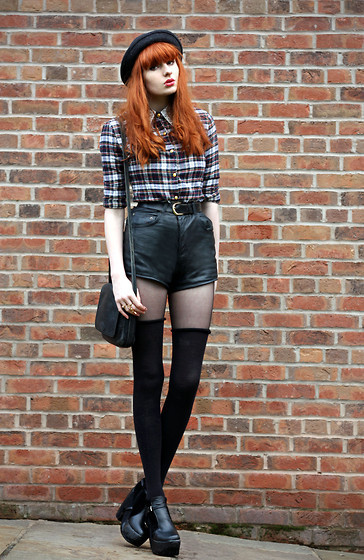 checkered, fashion, girl, hat, nice style leather shorts, olivia harrison, outfit, shirt, shorts, style
