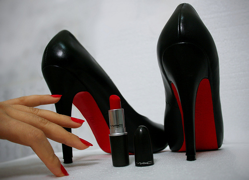 christian louboutins, high heels, lipstick, louboutins, mac, shoes