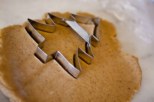 christmas, christmas tree, cookie cutter, cookie dough, cookies
