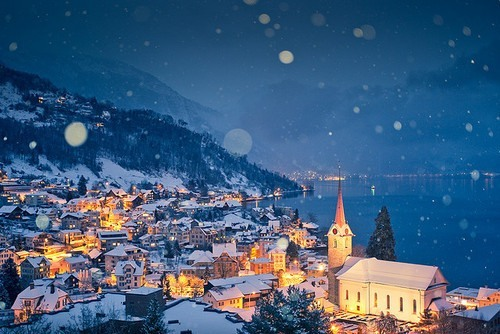 city, city lights, lights, night, snow, town, village, winter
