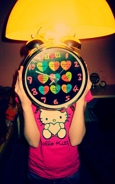 clock, girl, heart, hello, hello kitty