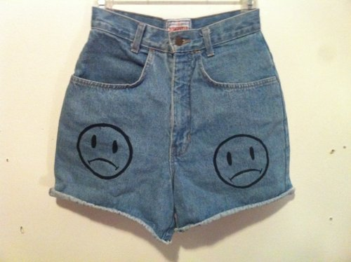 clothing, denim, fashion, frowny face, hipster, sad face, shorts, smiley face, style