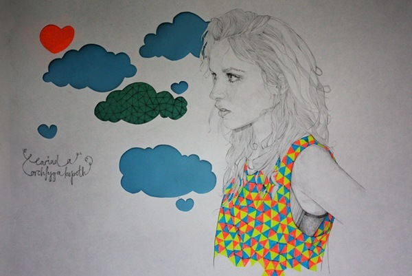clouds, drawing, girl, heart, illustration