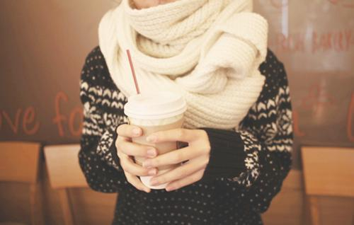 coffee, fashion, hipster, isle print, scarf, style, vintage, white