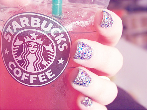 coffee, nails, pretty nails, starbucks, starbucks coffee