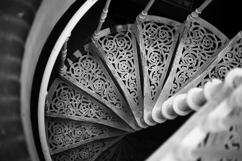 contrast, ornate, spiral staircase, spiral stairs, staircase, stairs, white, white iron, wrought iron