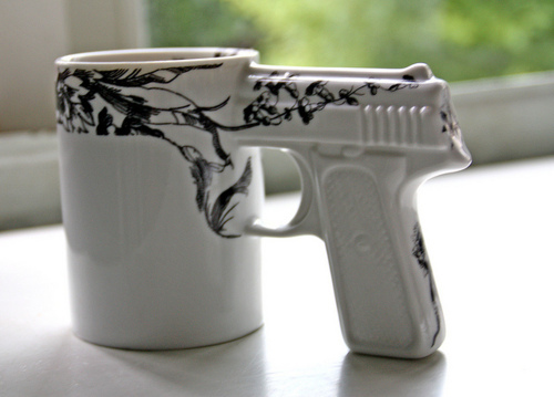 cool, cup, gun, guns, mug