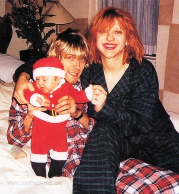 couple, courtney love, frances cobain, kurt cobain, xmas