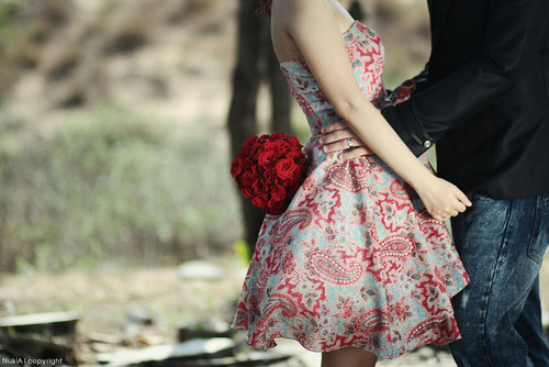 couple, dress, flowers, girl, guy, photography, red roses, rings, roses, woman