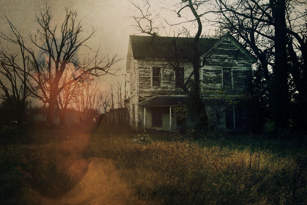 creepy, double exposure, eerie, haunted, house