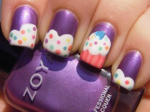 cupcake, cute, girl, nails, purple