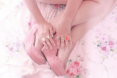 cute, delicate, flowers, girl, nails, nails polish, pink, rings