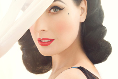 cute, dita, dita von teese, eyes, pretty, red lips