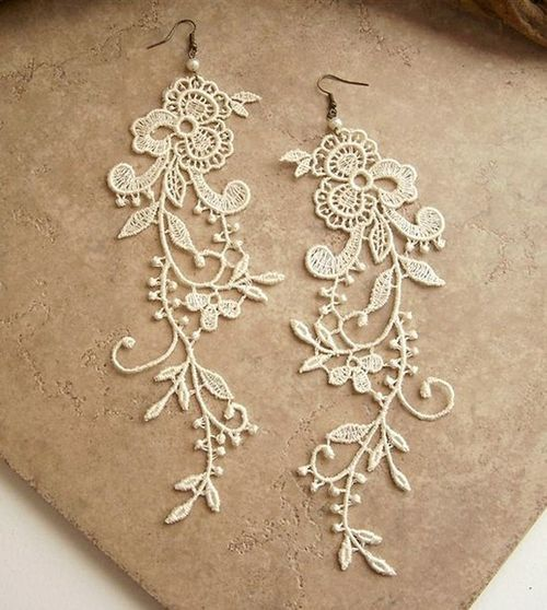 cute, earrings, flowers, girly, jewellery, lace, pretty