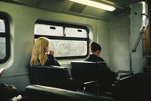 cute, filmgrain, girls, grain, hipster, indie, lipstick, lonely, music, people, tag, train, underground