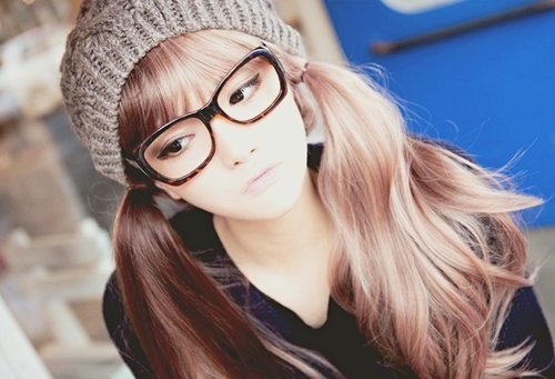 cute, girl, glasses, hair, korean girl, lips