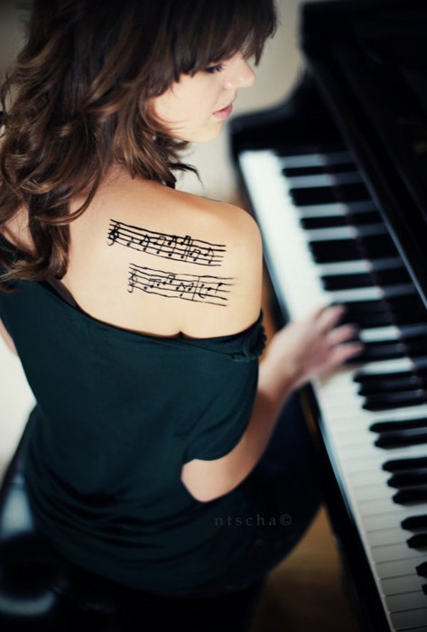 cute, girl, hair, music, notes, piano, sexy, tattoo, tatuagem