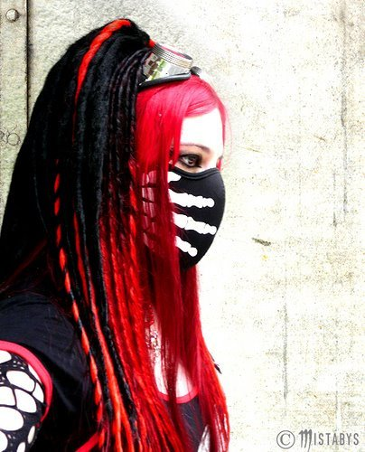 cyber goth, cybergoth, girl, goth, gothic, mistabys, model, red, red hair, cybergothgirl