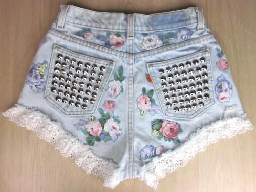denim, fashion, floral, frills, grunge, shorts, studs