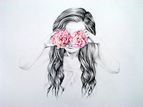 drawing, fashion, flower, girl, hipster, illustration, indie, love, retro, rose, vintage