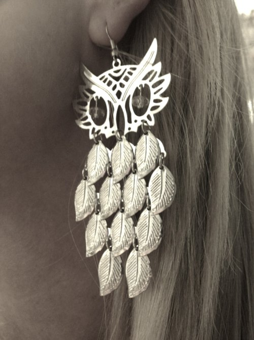 earrings, fashion, girl, iphone, iphone4, iphoneography, jewelry, owl, owls, photo, photography