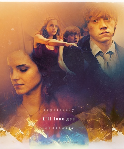 emma watson, harry potter, harry potter fan art, hermione granger, ron weasley
