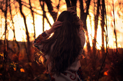 fall, forest, girl, hair, light