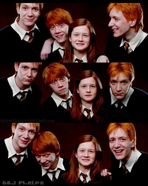 fred and george weasley, ginny weasley, harry potter, ron weasley, weasley