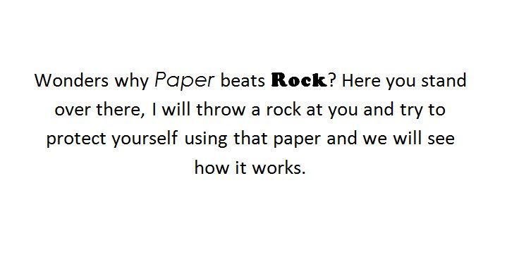 funny, paper, rock, text