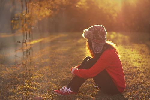 girl, grass, hat, keds, pretty, red, sit, sunshine