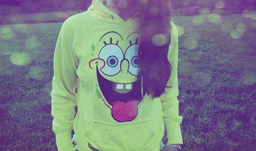 girl, greejn, hait, nature, spongebob
