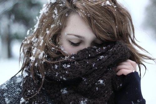 girl, scarf, snow, winter