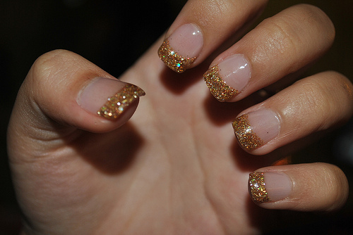 glitter, gold, nails
