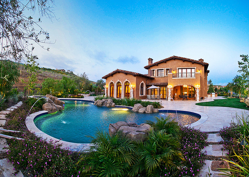 house, mansion, pool
