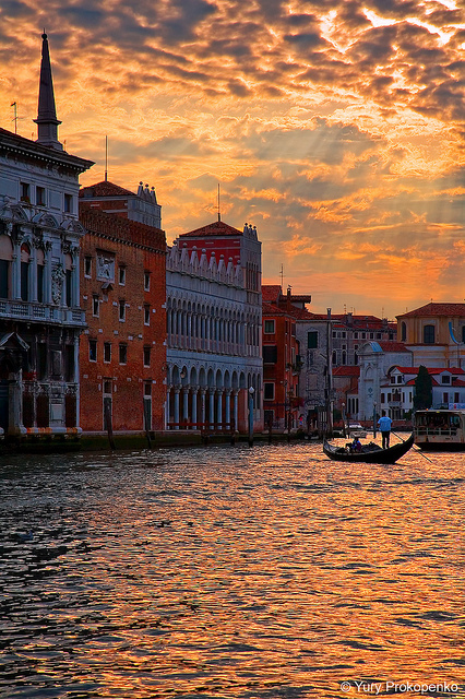 italy, sunset, venice, water