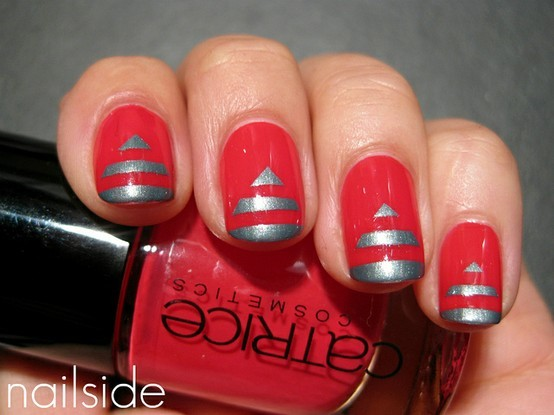 lines, nail, nail art, nail polish, red  image 323988 on Favim.com