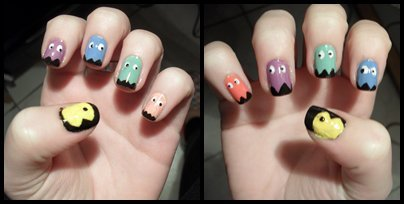 nail art, nails, pacman
