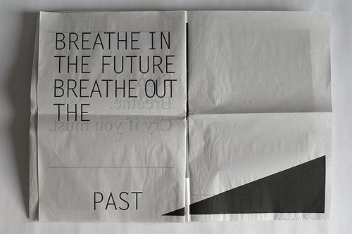 2012, art, black, future, paper, past, text, typography, white