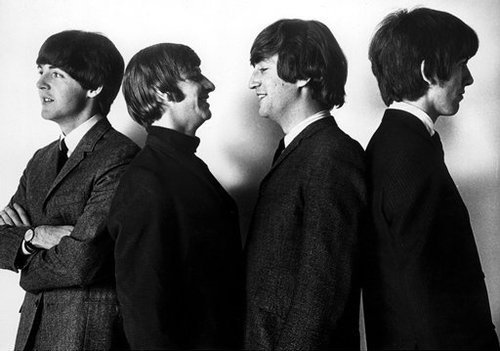 60s, black and white, george harrison, john lennon, music