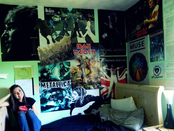 ac/dc, beatles, bed, girl, iron maiden