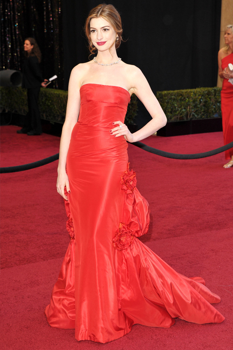 actress, american, anne hathaway, awesome sauce, best dressed, dress, girl, lady, princess, red, sexy, sweet, valentino couture, white heart, woman