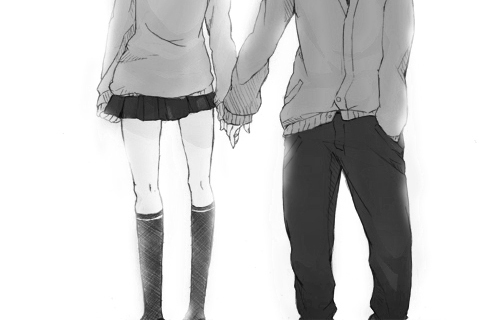 adorable, anime, black, boy, couple