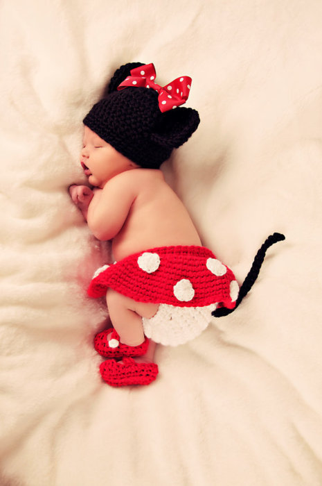adorable, baby, child, cute, disney, girl, joy, love, minnie mouse, precious, pure, red, sleep