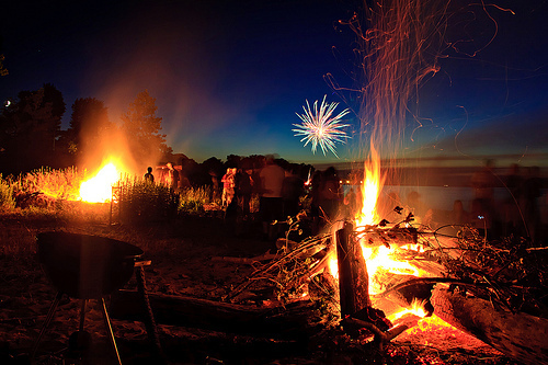 adventure, bonfire, campfire, explore, fire, fireworks, new year, new years, new years eve, night, outdoors, outside, party, sky