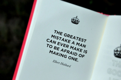 afraid, book, crown, elbert hubbard, great, man, mistake, pink, quote, zalina