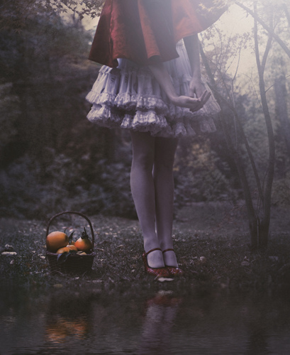 alone, amazing, apple, awesome, beautiful, cute, fairy tale, fashion, forest, hands, imagination, lake, little red cap, little red riding hood, lovely, magic, orange, perfect, photography, pretty, red, shoes, skirt, style