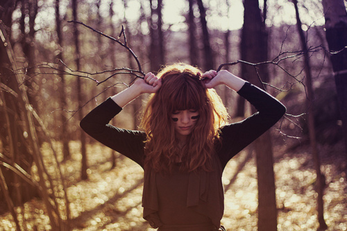 alone, antlers, brunette, cold, cute, forest, girl, make up, nature, photography, pretty, sad, woods