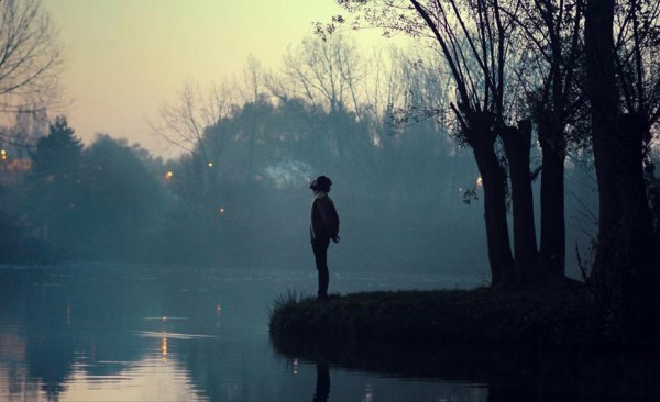 alone, boy, lake, man, nature