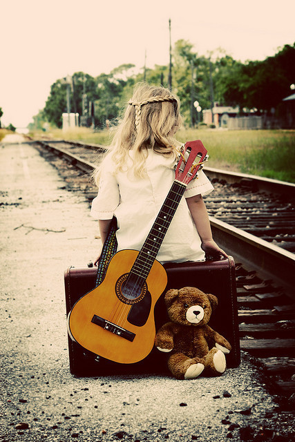 alone, child, cute, guitar, little girl